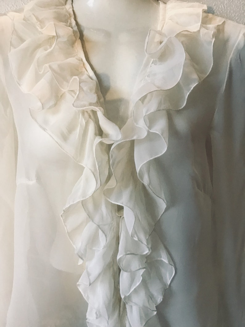 Vintage Transparent Thin Silk Dairy Romantic French With Ruffles 1990s Style