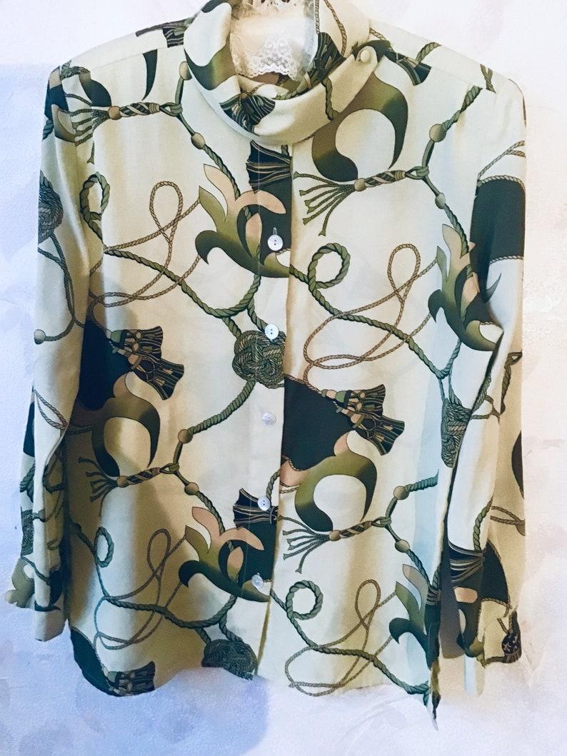 Vintage 80s Mint Blouse Silk Slip Size 38  opean