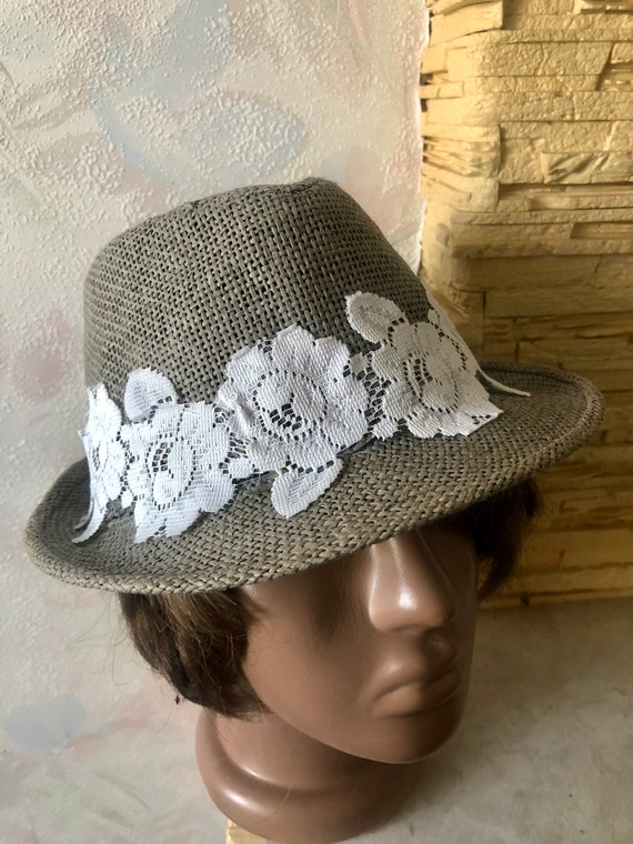 Ladies summer straw trilby hat with lace 57cm - image 7