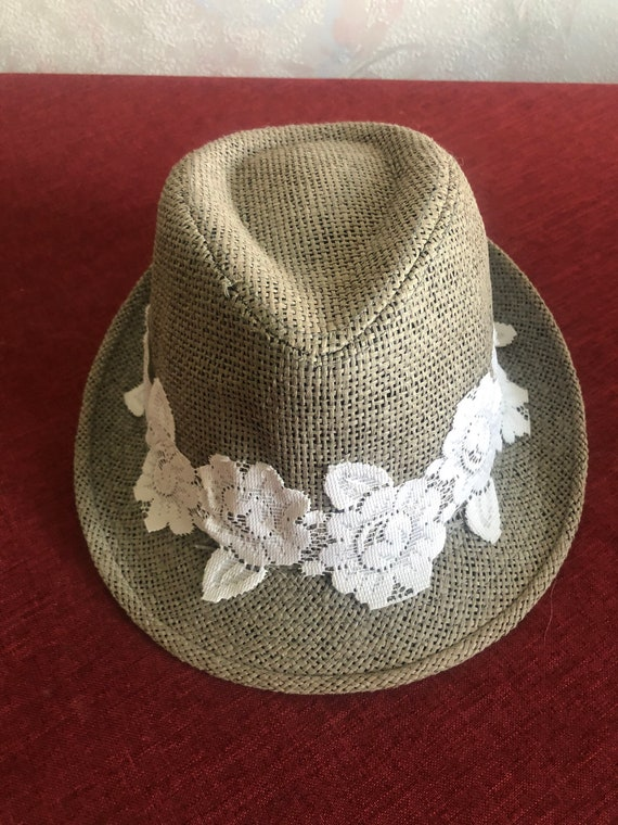 Ladies summer straw trilby hat with lace 57cm - image 9