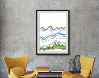 Trees and water color waves modern wall art print