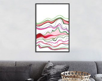 Summer color waves abstract minimal art print