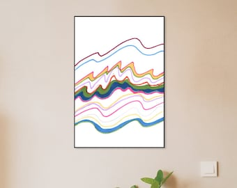 Spring color waves abstract contemporary art print