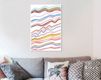 Sunlight color waves abstract wall print, modern artwork