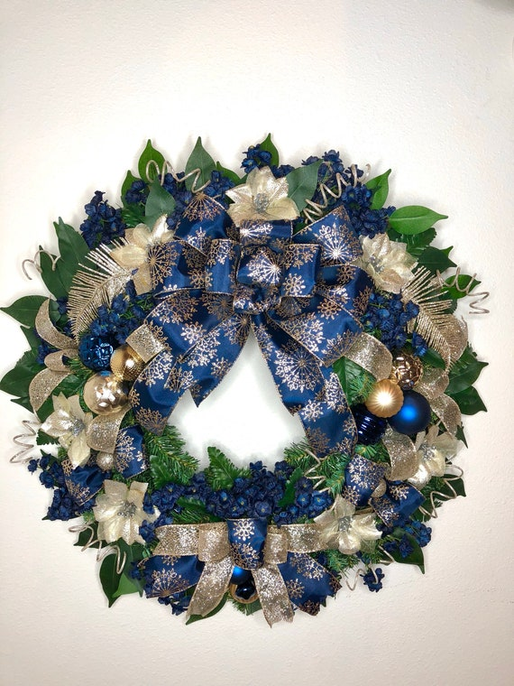 Gold Christmas Wreath.Navy And Gold Christmas Wreath Elegant Christmas Wreath Front Door Christmas Decor Wreath For Christmas Navy Blue Xmas Decor