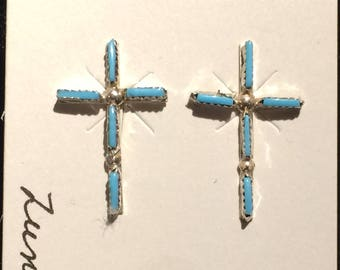 Authentic Native American sterling silver and turquoise cross earrings