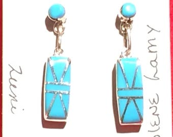 Authentic Native American sterling silver and turquoise rectangle dangle earrings