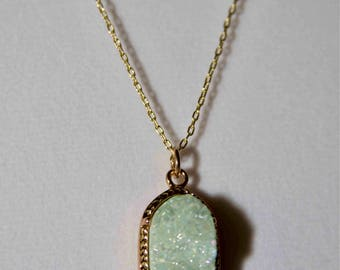 Drusy & gold tone double strand necklace