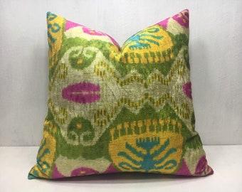 ikat pillow, velvet pillow, 20x20, handwoven silk pillow, decorative pilow, modern pillow cover, accent pillows, home decor, home living