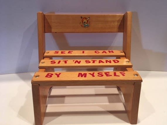 Enjoyable Vintage Childrens Kids Step Stool Seat Solid Wood Ocoug Best Dining Table And Chair Ideas Images Ocougorg