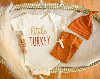 Little Turkey Bodysuit, Thanksgiving Baby Outfit, Cute Fall Baby Clothes, Gender Neutral Baby Gift