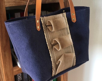 Tote rustle - Navy & gold (PM)