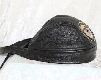 05413f39b50 Navy Leather Adult Skull Cap