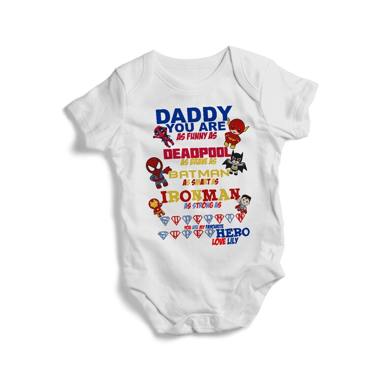 Daddy you are as funny as deadpool brave as batman smart as ironman baby bodysuit baby clothing best gift for baby baby shower gift outfit