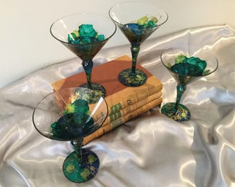 Set of 4 Artistically Designed Martini Glasses