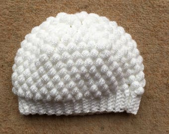 White puff stitch hat 6-12 months 3589bed6e84
