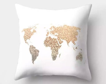 World map cushion etsy gold glitter effect world map print cushion 46x46cm complete with high quality cushion pad gumiabroncs Choice Image