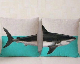 Dekorative Ozean Sea Life Weißer Hai Druck Split Kissen 45x45cm (als Paar  Verkauft) Komplett Mit Hochwertigen Kissen Pad