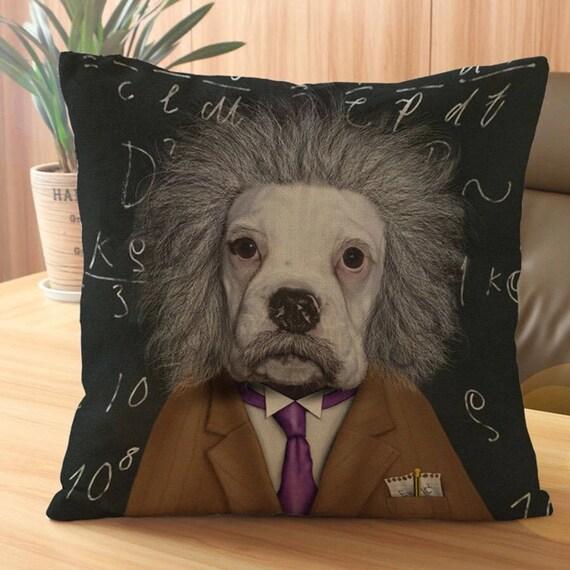 Albert Einstein chien impression coussin 45x45cm complet avec rembourrage de haute qualité