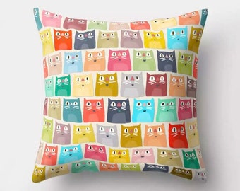 Colourful Kitty Cat Tiled Print Cushion 46x46cm complete with high quality cushion pad