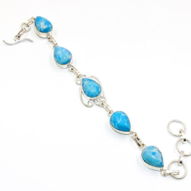 Caribbean Larimar Gemstone 925 Silver Handmade Bracelet 7-8 Pear Shape Larimar Wedding Gift Free Gift CBS690