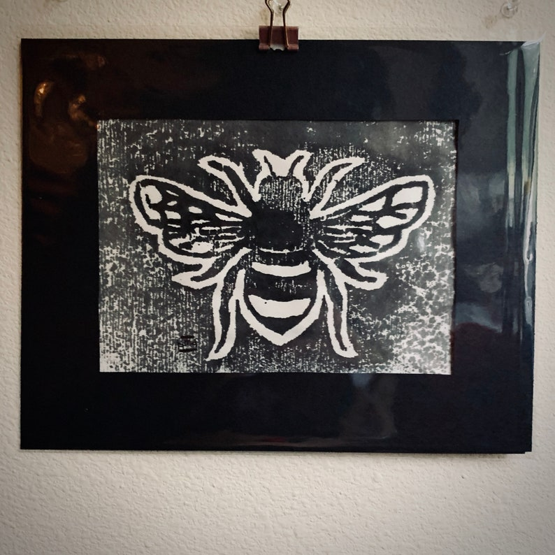 mokuhanga woodblock print direct message for sliding scale option BLACK BUMBLE BEE hand carved and made with love