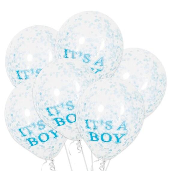 6 Pack Its Aboy Confetti Filled Balloon Boy Baby Shower L Boy Etsy