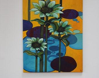 Flower painting, original art, acrylic painting