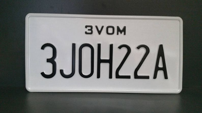 US USA License Plate Customizable Number Plate Embossed Custom Personalized Alu Made in Germany Express Shipping Text in two lines