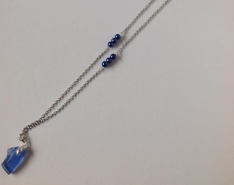 Long Blue Beach Glass Necklace