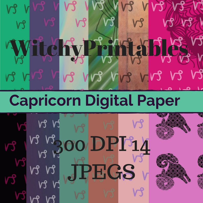 Capricorn Digital Paper Pagan Witch Wicca Zodiac Birthday Scrapbook Blog  Horoscope Fortune Spiritual Planner Witchcraft Magic Astrology