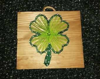 Shamrock Four Leaf Clover Hanging String Art
