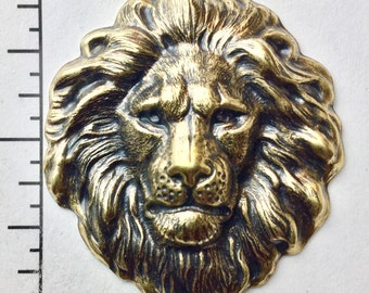 Large ANTIQUE SILVER Roaring Lion Head Stamping ~ Jewelry Findings C-043