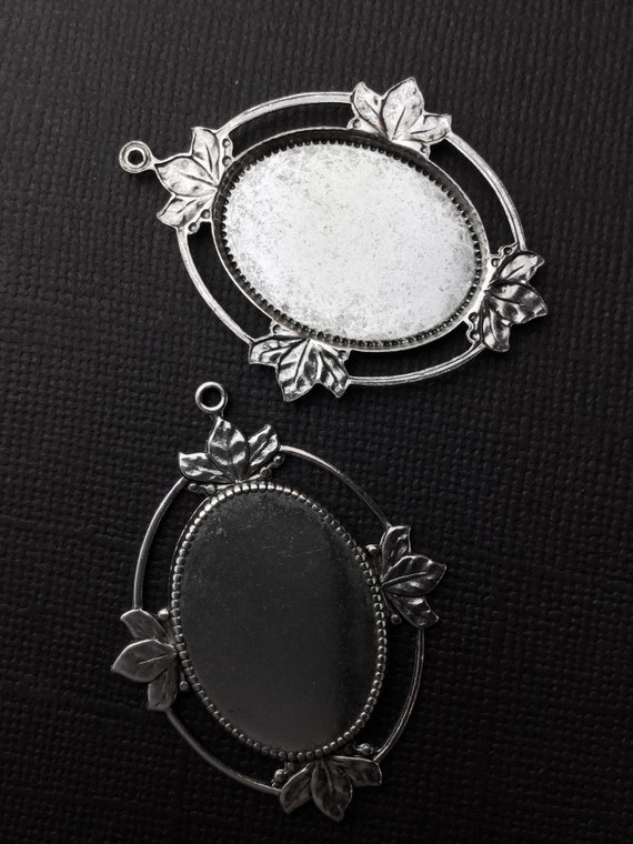 21734 Victorian 25X18mm Oval Setting Jewelry Finding Silver Ox