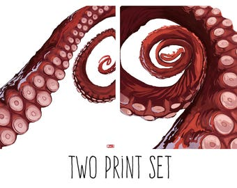 "Tentacle Print Art Set - ""Squidicles"""