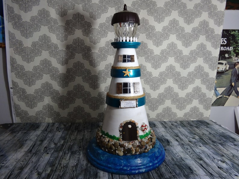 Solar Light Clay Pot Lighthouse Yard Art Made To Etsy