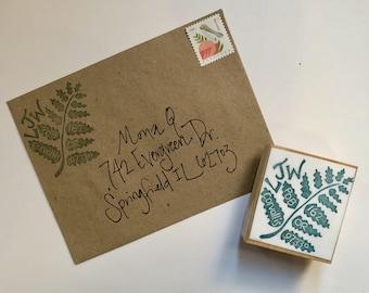Fern hand carved customized return address stamp