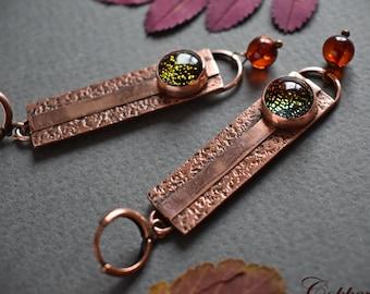 Copper metalwork earrings / Artisan boho jewelry / Handcrafted copper earrings / Handmade wire wrapped jewelry / OOAK handmade jewelry