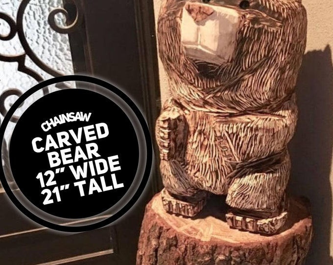 Featured listing image: Wood Carving Cabin Decor Chainsaw Carving Wooden Mama Bear Teddy Bear Home Rustic Care Bear Panda Housewarming Gift Anniversary Gift