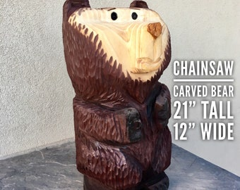 Chainsaw Bear Carvings Cabin Decoration Wooden Mama Chainsaw Art Carved Wood Carving Home Decor Rustic Paint Care Bear Panda