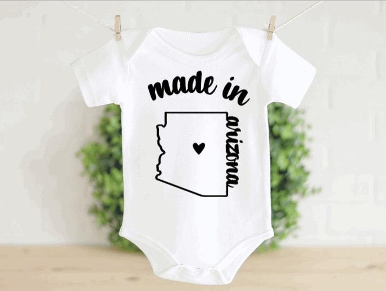 Made in ARIZONA Onesie\u00ae Newborn Outfit Baby Shower Gift Baby Gift Baby ONESIES\u00ae Bodysuit Gift for New Baby Baby Reveal Announcement