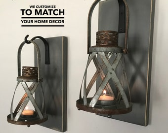 Hanging Lantern Sconces/Lanterns/Hanging Lantern Sconce/Farmhouse Decor/Rustic  Home Decor/Lantern Sconce/Wall Decor/Wall Hangings