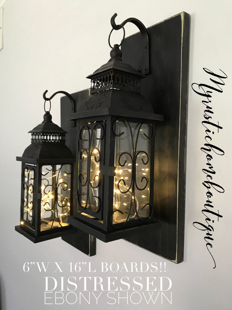 Set of 2 lantern sconces hanging sconces lantern sconce wall sconces rustic wall sconces rustic home decor lighted sconces gifts
