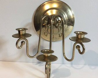 Mid Centry Brass Wall Mount Candelabra Sconces
