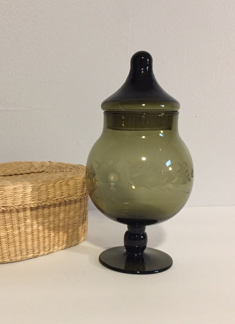 Vintage Olive Green Etched Glass Pedestal Container with Lid