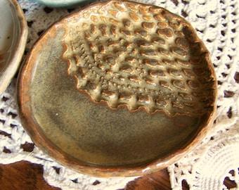 Pottery Spoon Rest Trinket Dish Handmade Pottery Spoon Rest Pottery Soap Dish Fuzzy Mud Studio Rustic  Ring Dish Handmade Jewelry Dish