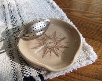 Handmade Pottery Spoonrest Wheel Thrown Stoneware Pottery Earth Tone Spoon Rest Nautical Decor Spoon Rest Compass Rose Farmhouse Decor
