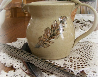Handmade Pottery Pitcher Milk Pitcher Handmade Feather Pottery Design Wheelthrown Pottery Rustic Cabin Decor Farmhouse Decor Nature Decor