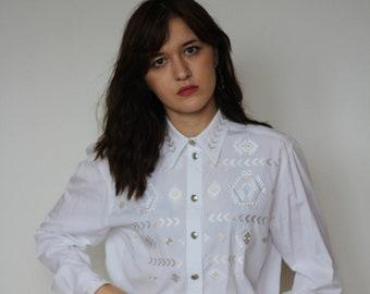 cec9022e0472d Vintage Escada Margaretha Ley white blouse