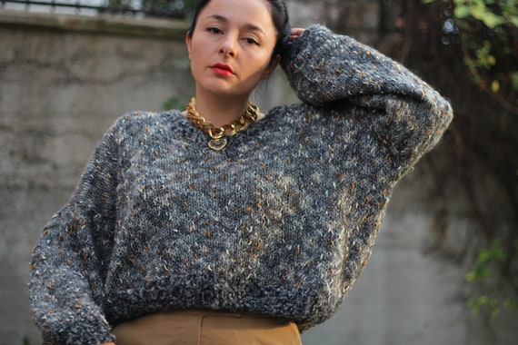 Vintage 90s handmade chunky cropped sweater Round-